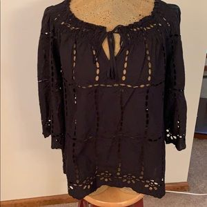 Inc eyelet blouse size medium